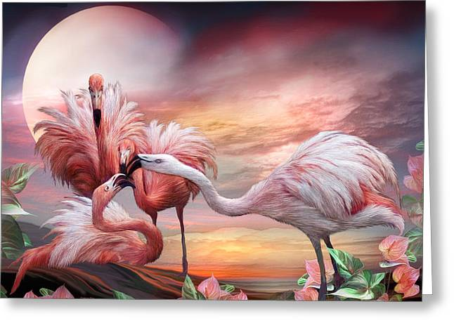 Flamingo Art Greeting Cards - Flamingo Kiss Greeting Card by Carol Cavalaris