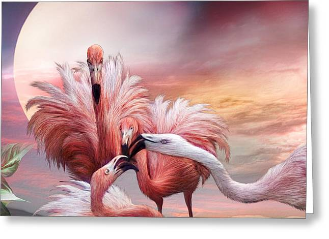 Flamingo Greeting Cards - Flamingo Kiss - SQ Greeting Card by Carol Cavalaris