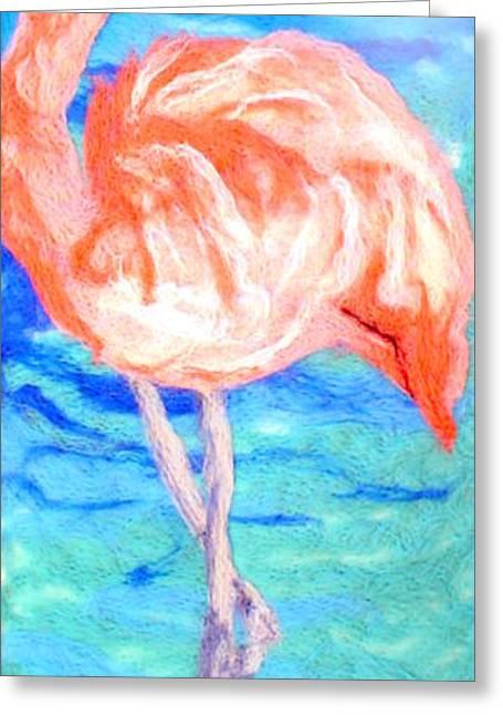 Tropical Beach Tapestries - Textiles Greeting Cards - Flamingo Greeting Card by Kyla Corbett
