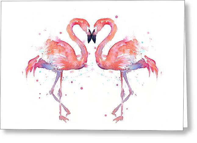 Flamingo Love Watercolor Greeting Card by Olga Shvartsur