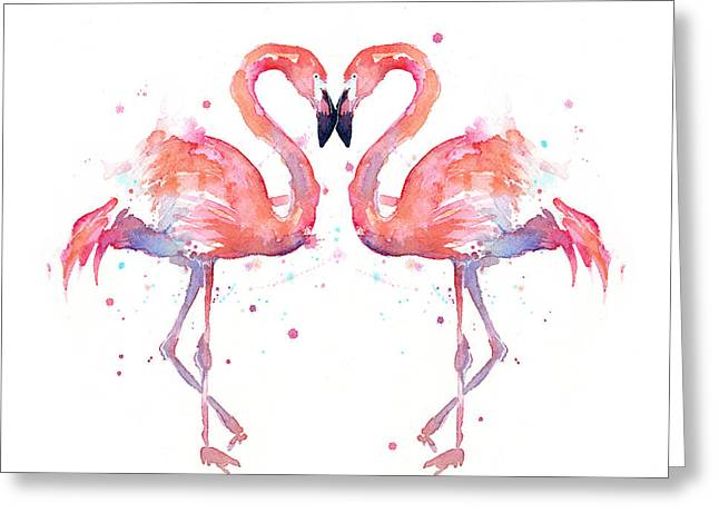 Tropical Bird Greeting Cards - Flamingo Love Watercolor Greeting Card by Olga Shvartsur