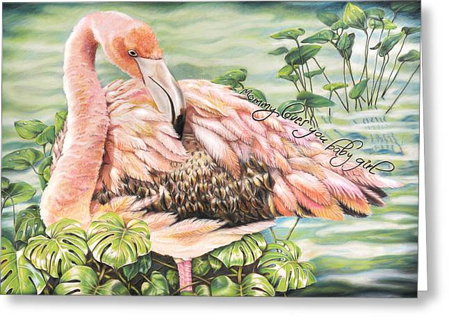 Water Lilly Pastels Greeting Cards - Flamingo  Greeting Card by Michelle Morris