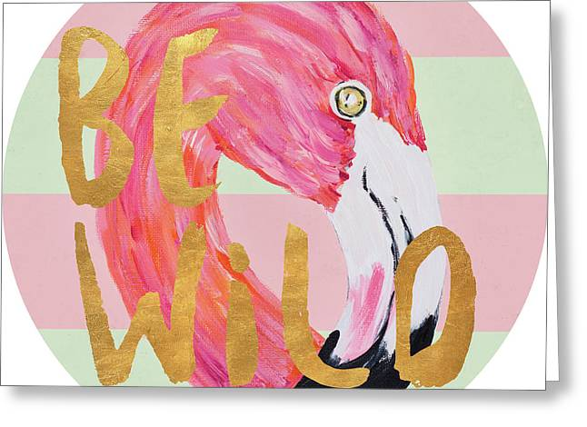 Flamingo On Stripes Round Greeting Card by Julie Derice