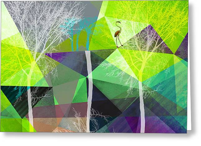 Surreal Geometric Mixed Media Greeting Cards - Flamingo P18 Greeting Card by PIA Schneider