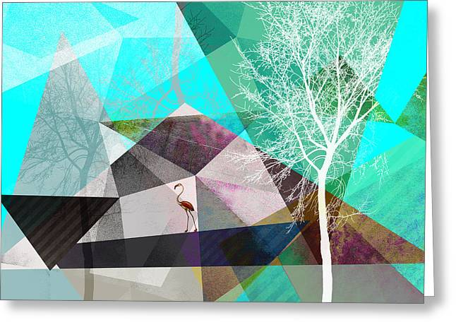 Surreal Geometric Mixed Media Greeting Cards - Flamingo P19 Greeting Card by PIA Schneider