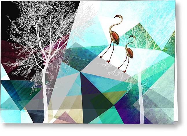 Surreal Geometric Mixed Media Greeting Cards - Flamingo P20 Greeting Card by PIA Schneider