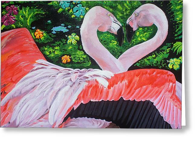 Flamingo Paradise Greeting Card by Chikako Hashimoto Lichnowsky