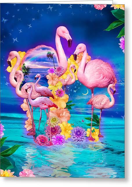 Flamingo Shape Wbackground Greeting Card by Alixandra Mullins