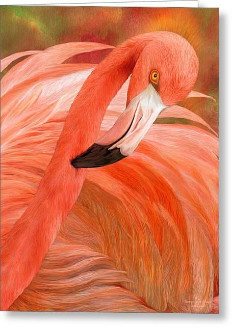 Flamingo Art Greeting Cards - Flamingo - Spirit Of Balance Greeting Card by Carol Cavalaris