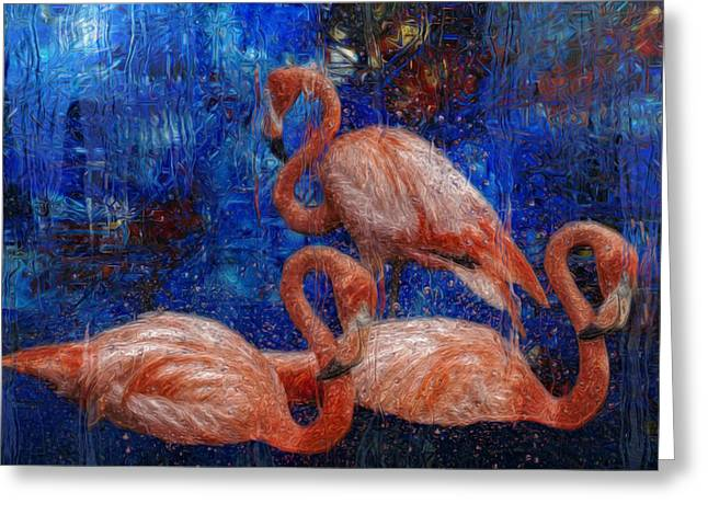 Watery Greeting Cards - Flamingo Trio Greeting Card by Jack Zulli
