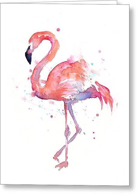 Birds Greeting Cards - Flamingo Watercolor Greeting Card by Olga Shvartsur