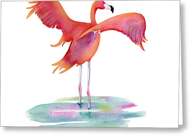 Flamingos Greeting Cards - Flamingo Wings Greeting Card by Amy Kirkpatrick