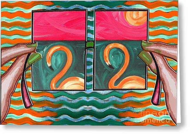 Surreal Landscape Mixed Media Greeting Cards - Flamingoes 2 Greeting Card by Patrick J Murphy