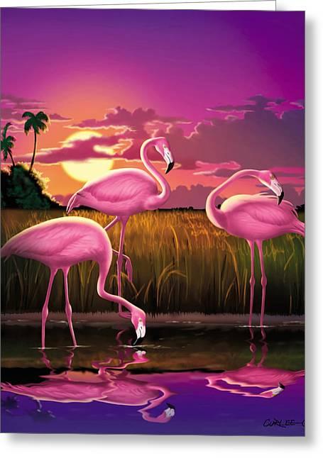 Coastal Decor Digital Art Greeting Cards - Flamingoes Flamingos Tropical Sunset landscape florida everglades large hot pink purple print Greeting Card by Walt Curlee
