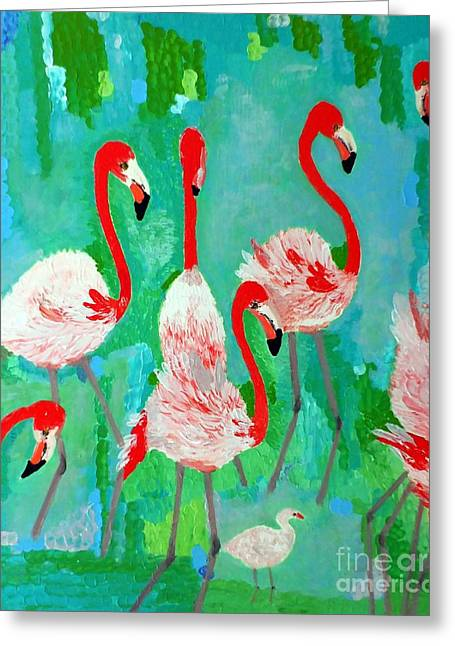Pink Reliefs Greeting Cards - Flamingos 1 Greeting Card by Vicky Tarcau