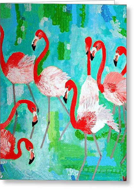 Pink Reliefs Greeting Cards - Flamingos 2 Greeting Card by Vicky Tarcau