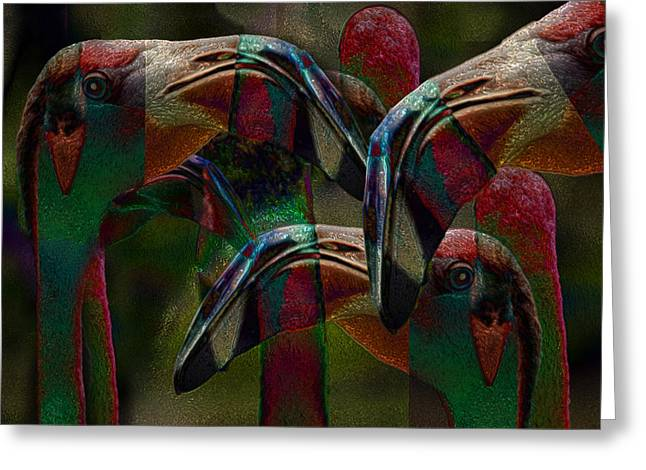 Watery Greeting Cards - Flamingos 3 Greeting Card by Jack Zulli