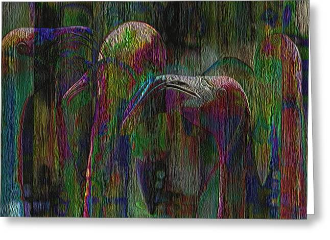 Watery Greeting Cards - Flamingos Greeting Card by Jack Zulli