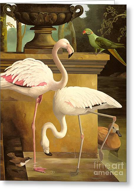 Thin Paintings Greeting Cards - Flamingos Greeting Card by Lizzie Riches