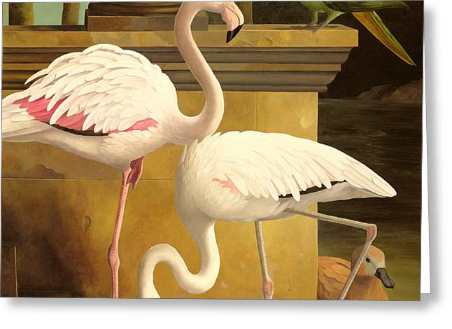 Flamingos Greeting Card by Lizzie Riches