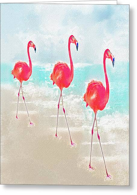 Flamingo Greeting Cards - Flamingos On The Beach Greeting Card by Jane Schnetlage