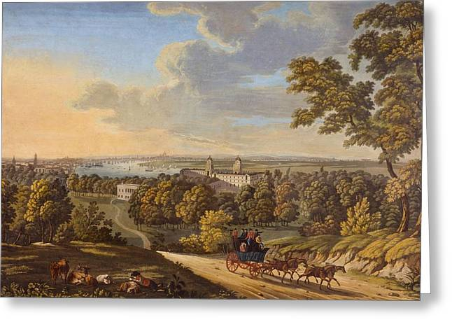Coach Drawings Greeting Cards - Flamstead Hill, Greenwich The Greeting Card by English School
