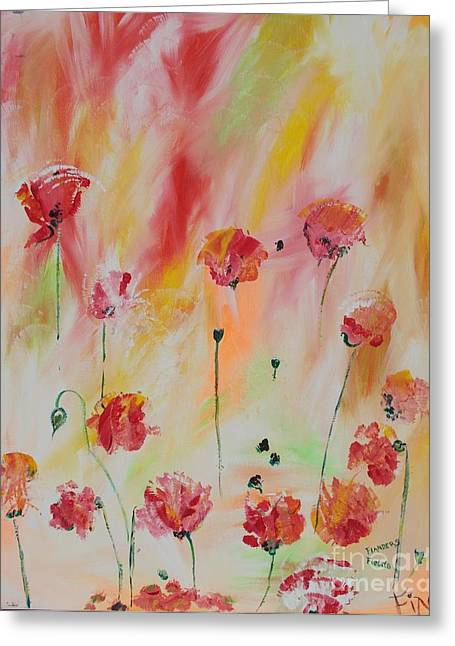 Cemetary Paintings Greeting Cards - Flanders Field Greeting Card by PainterArtist FIN