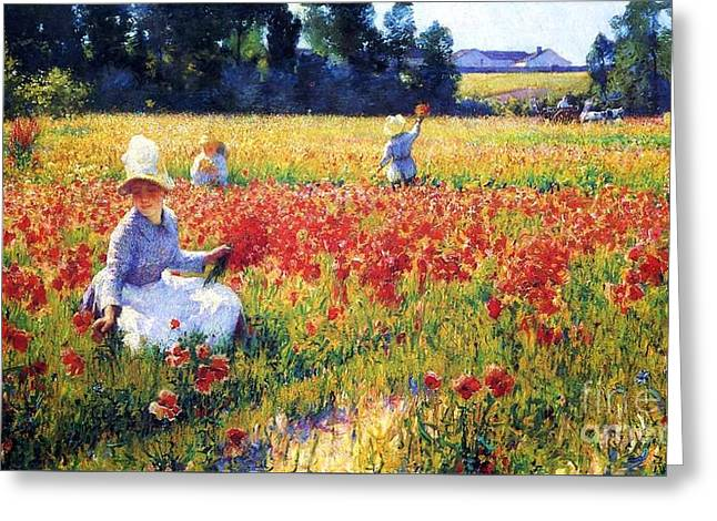 """battle Field"" Greeting Cards - Flanders Fields Where Soldiers Sleep and Poppies Grow Greeting Card by Pg Reproductions"