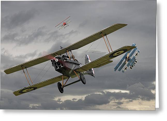 Biplane Greeting Cards - Flanders Skies Greeting Card by Pat Speirs