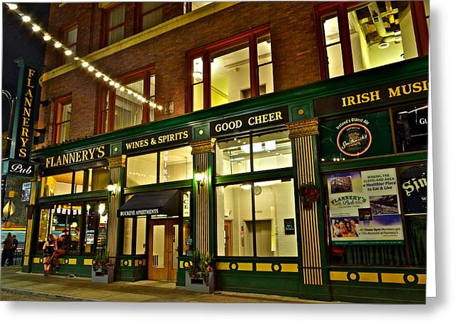 Entryway Greeting Cards - Flannerys Pub Greeting Card by Frozen in Time Fine Art Photography