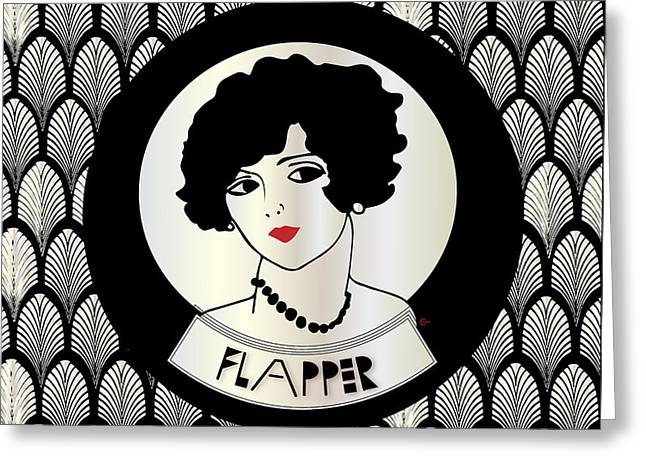 1920s Flapper Gatsby Girl In Black And Pearl Greeting Card by Cecely Bloom
