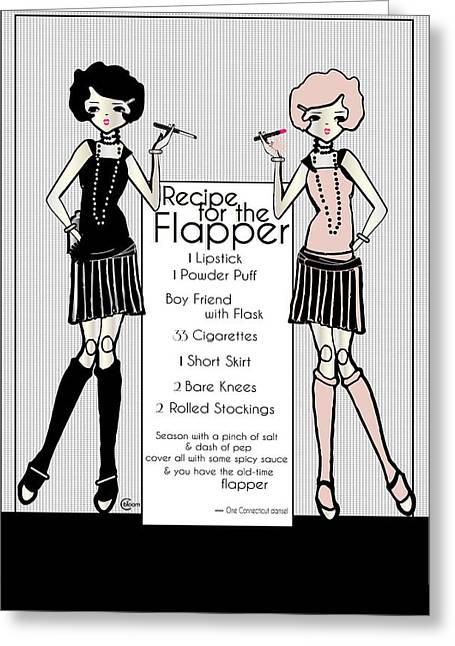Party Invite Greeting Cards - Flapper Girl 1920s Recipe Gatsby Girl with 2 flappers Greeting Card by Cecely Bloom