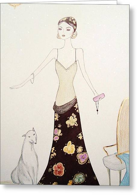 Twentieth Century Mixed Media Greeting Cards - Flapper Girl Greeting Card by Christine Corretti
