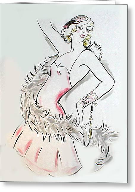 Erte Greeting Cards - Flapper Girl Greeting Card by Melinda Saminski