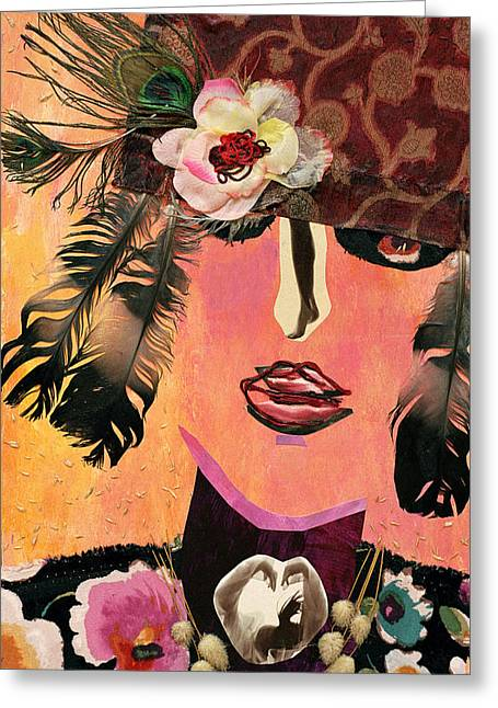 Diane Fine Greeting Cards - Flapper Lady Greeting Card by Diane Fine