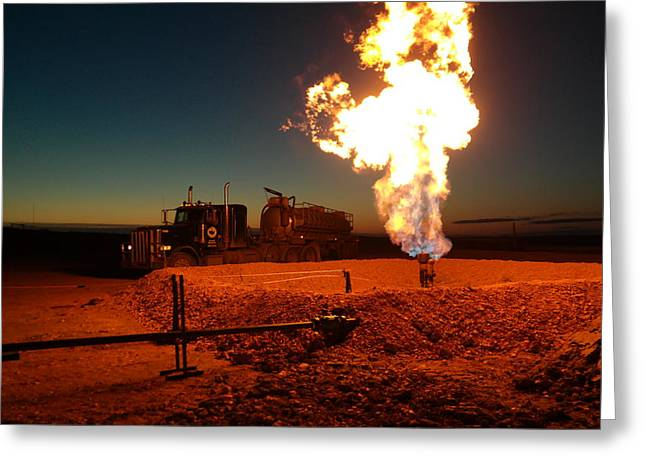 Fossil Fuel Greeting Cards - Flare And A Vacuum Truck Greeting Card by Jeff  Swan