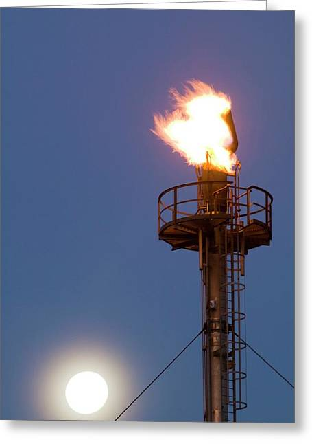 Flare Off From A Petrochemical Works Greeting Card by Ashley Cooper
