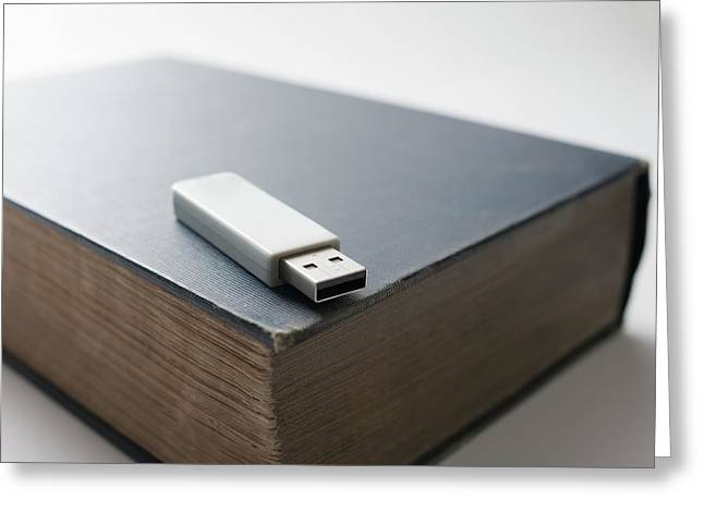 Flash Drive And Old Book Greeting Card by Robert Brook