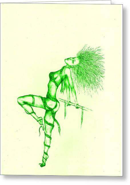 Flash Drawings Greeting Cards - Flash of green Greeting Card by Kenneth Clarke