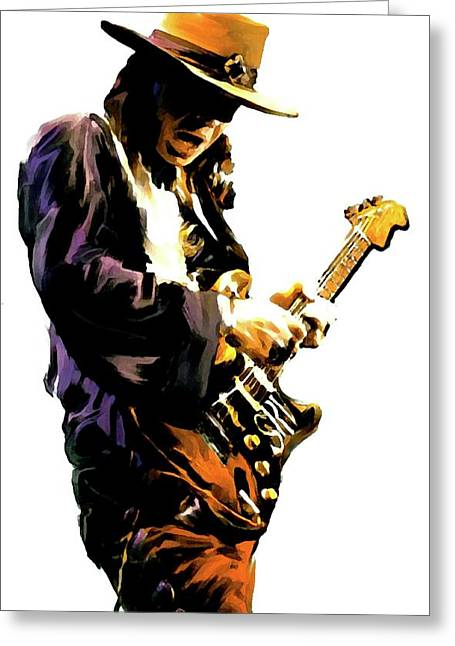 Photographs Drawings Greeting Cards - Flash Point IV     Stevie Ray Vaughan Greeting Card by Iconic Images Art Gallery David Pucciarelli