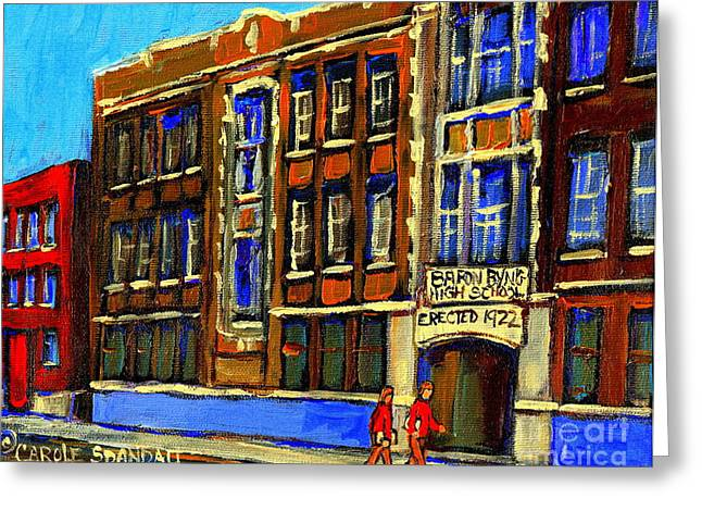 Baron Byng High School Greeting Cards - Flashback To Sixties Montreal Memories Baron Byng High School Vintage Landmark St. Urbain City Scene Greeting Card by Carole Spandau