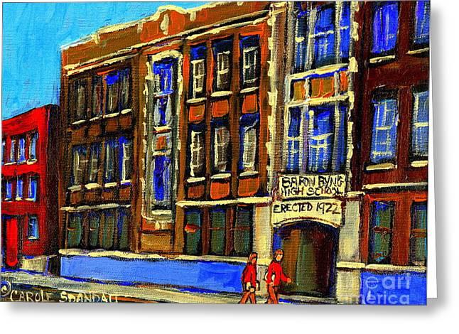Brick Schools Paintings Greeting Cards - Flashback To Sixties Montreal Memories Baron Byng High School Vintage Landmark St. Urbain City Scene Greeting Card by Carole Spandau