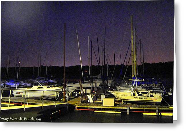 Docked Sailboats Greeting Cards - Twilight Marina Sail Boats  Greeting Card by ARTography by Pamela  Smale Williams