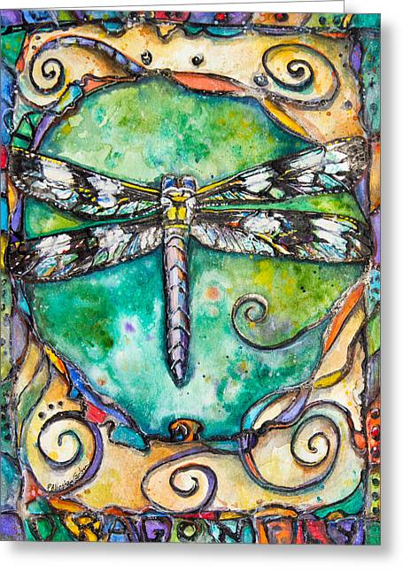 Silver Turquoise Greeting Cards - Flashy Dragonfly Children of the Earth Series Greeting Card by Patricia Allingham Carlson