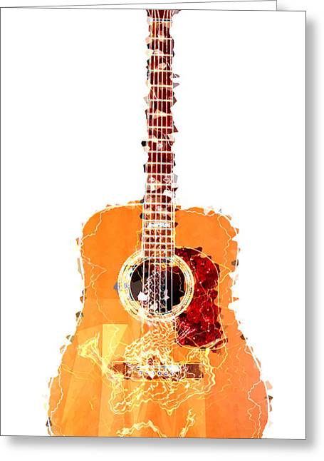 Flashy Greeting Cards - Flashy Guitar Greeting Card by Celestial Images