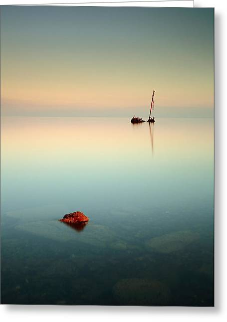 Coastal Prints Greeting Cards - Flat Calm Shipwreck Sunrise Greeting Card by Grant Glendinning
