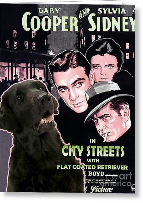 Retriever Prints Greeting Cards - Flat-Coated Retriever Art Canvas Print - City Street Movie Poster Greeting Card by Sandra Sij