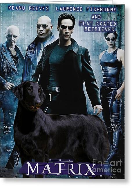 Retriever Prints Greeting Cards - Flat-Coated Retriever Art Canvas Print - Matrix Movie Poster Greeting Card by Sandra Sij