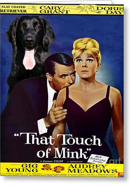 Retriever Prints Greeting Cards - Flat-Coated Retriever Art Canvas Print - That Touch of Mink Movie Poster Greeting Card by Sandra Sij