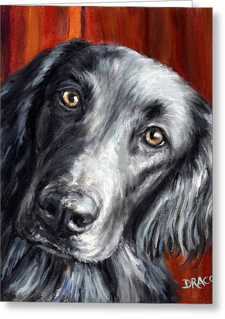 Dog Artists Greeting Cards - Flat-coated Retriever Portrait on Red Greeting Card by Dottie Dracos